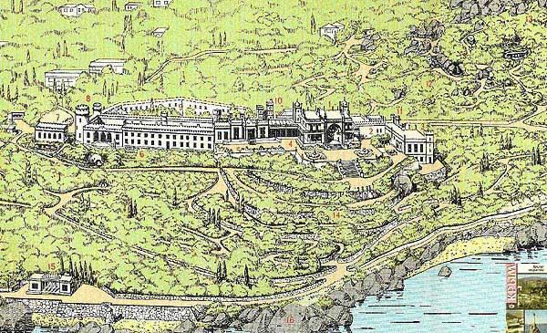 Схема Алупкинский дворца и